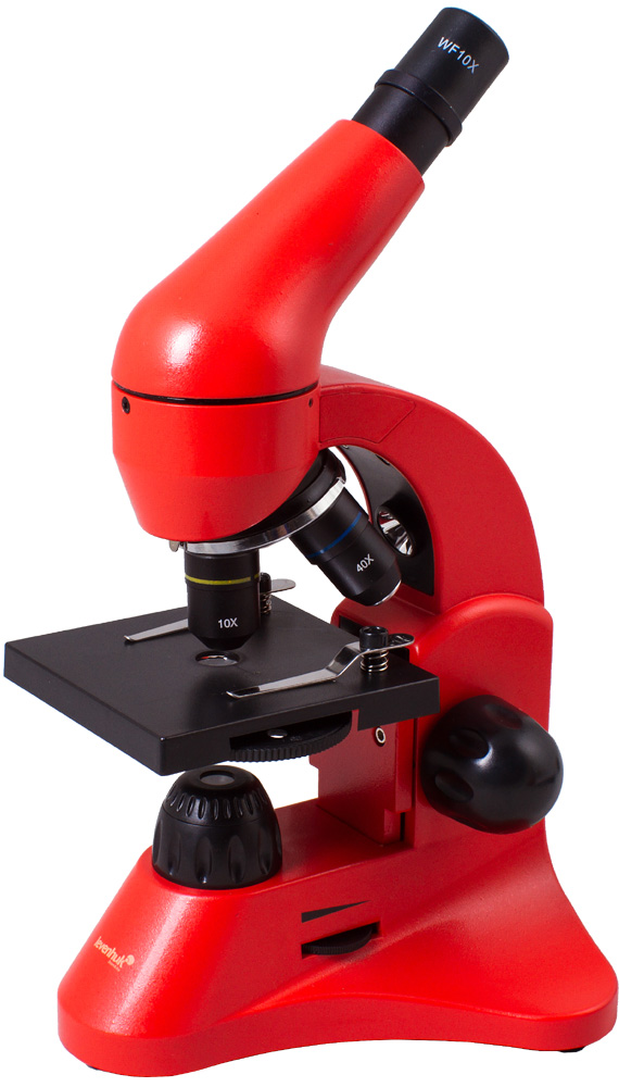 Levenhuk Rainbow 50L Azure Microscope: the microscope is equipped with comfortable handles for moving the stage